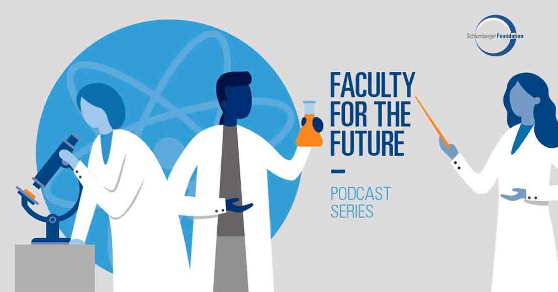 Graphic of Faculty for the Future podcast intro slide.